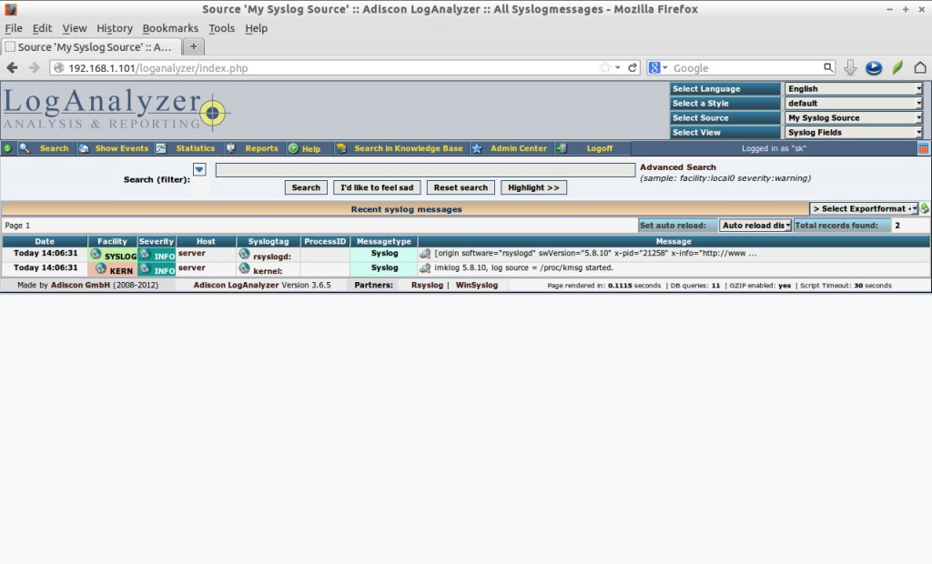 Source 'My Syslog Source' :: Adiscon LogAnalyzer :: All Syslogmessages - Mozilla Firefox_019