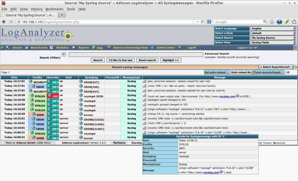 Source 'My Syslog Source' :: Adiscon LogAnalyzer :: All Syslogmessages - Mozilla Firefox_020