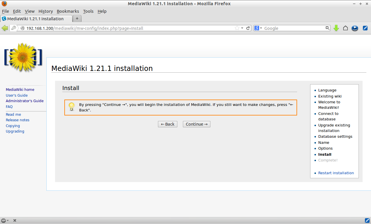 MediaWiki 1.21.1 installation - Mozilla Firefox_010