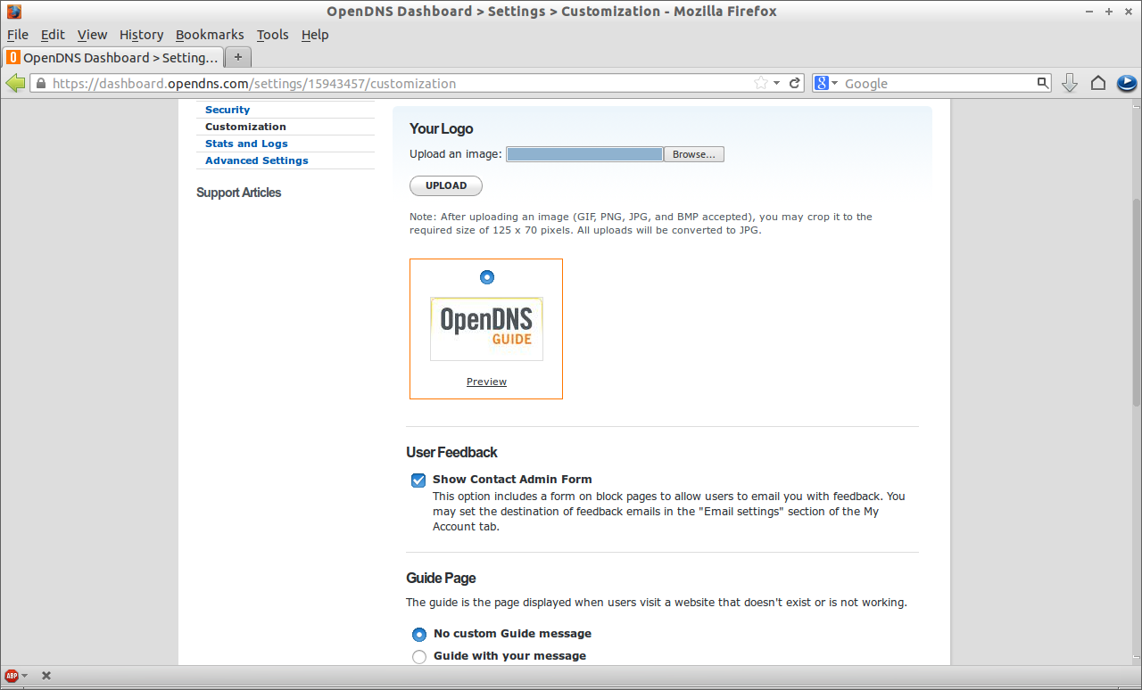 OpenDNS Dashboard - Settings - Customization - Mozilla Firefox_020