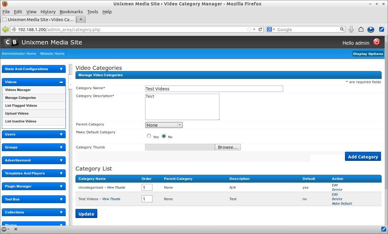 Unixmen Media Site › Video Category Manager - Mozilla Firefox_029