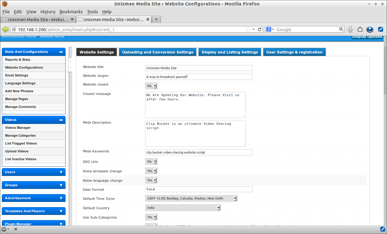 Unixmen Media Site › Website Configurations - Mozilla Firefox_020
