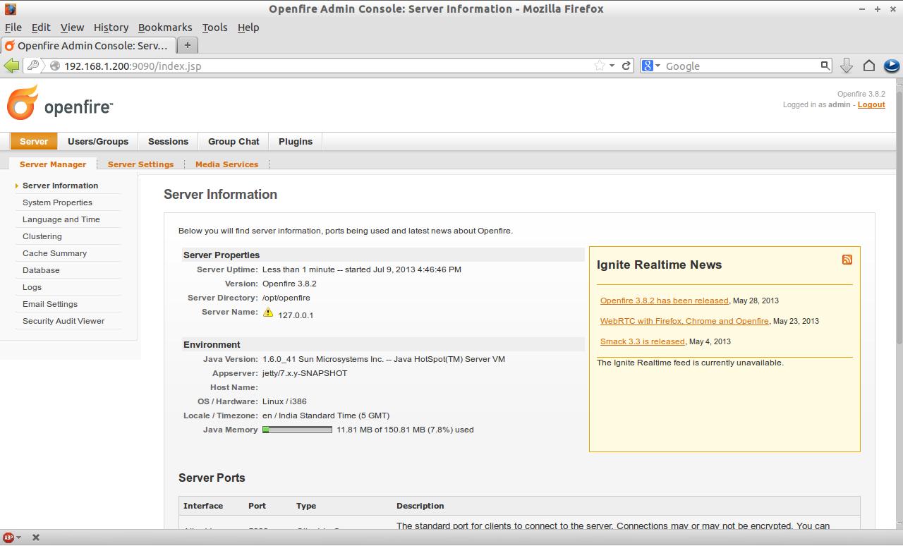 Openfire Admin Console: Server Information - Mozilla Firefox_017