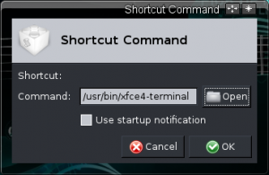 Shortcut command window
