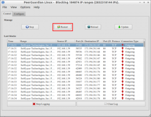 PeerGuardian Linux - Blocking 184874 IP ranges (2832318144 IPs)._004
