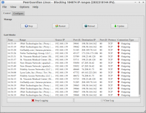 PeerGuardian Linux - Blocking 184874 IP ranges (2832318144 IPs)._007