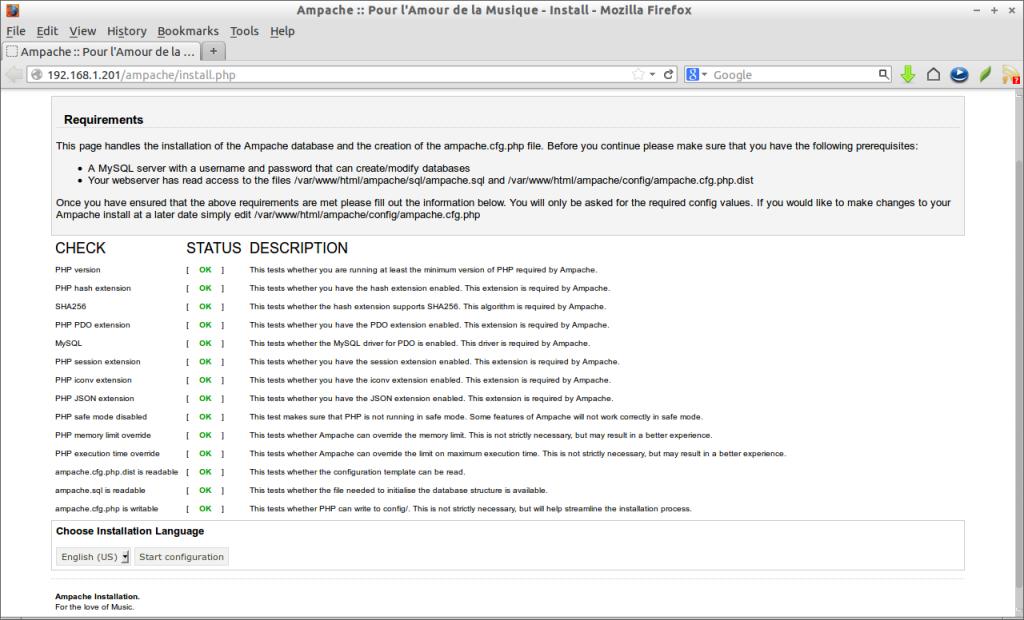 Ampache :: Pour l'Amour de la Musique - Install - Mozilla Firefox_001
