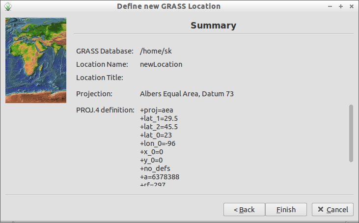 Define new GRASS Location_009