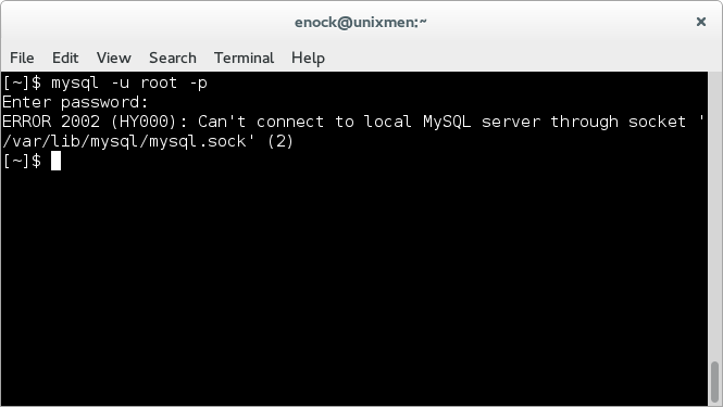 Can't connect to local MySQL server through socket