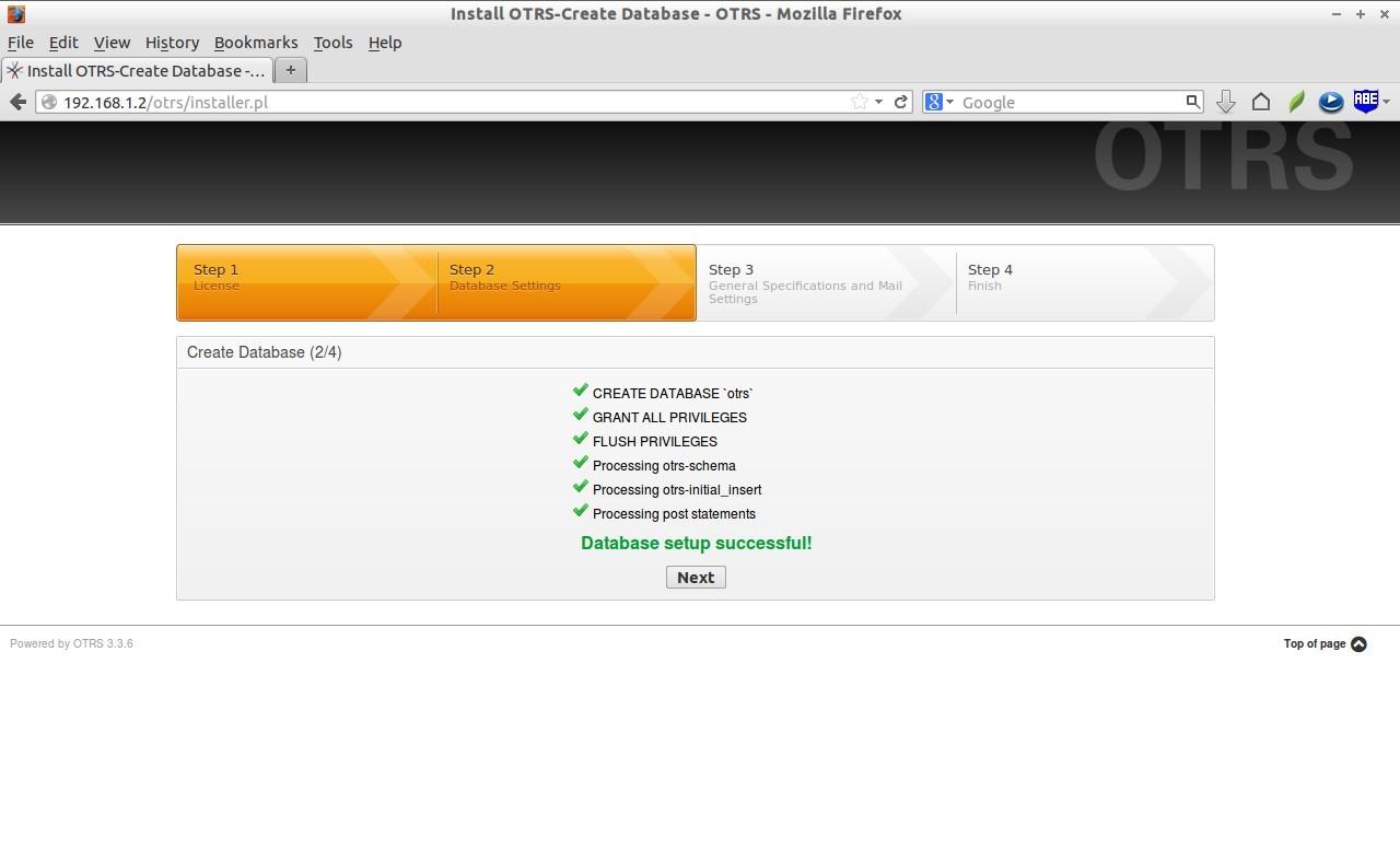 Install OTRS-Create Database - OTRS - Mozilla Firefox_007
