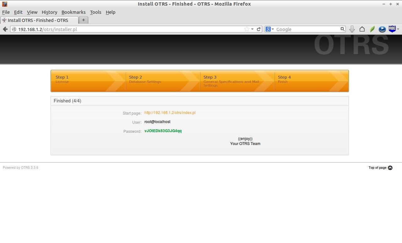 Install OTRS - Finished - OTRS - Mozilla Firefox_010