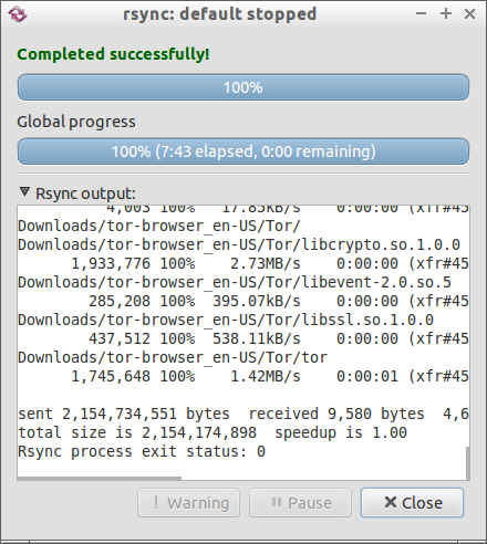 rsync: default stopped_010