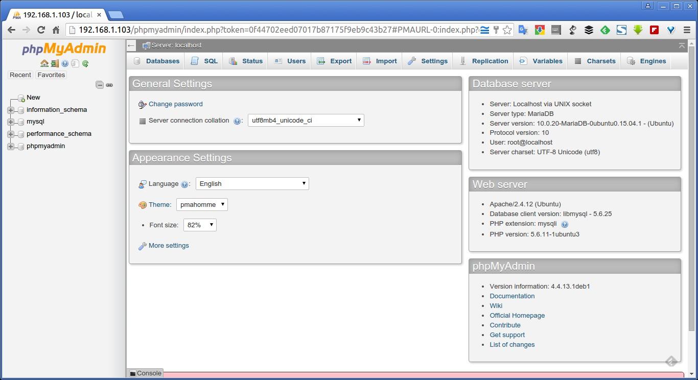 192.168.1.103 - localhost | phpMyAdmin 4.4.13.1deb1 - Google Chrome_010
