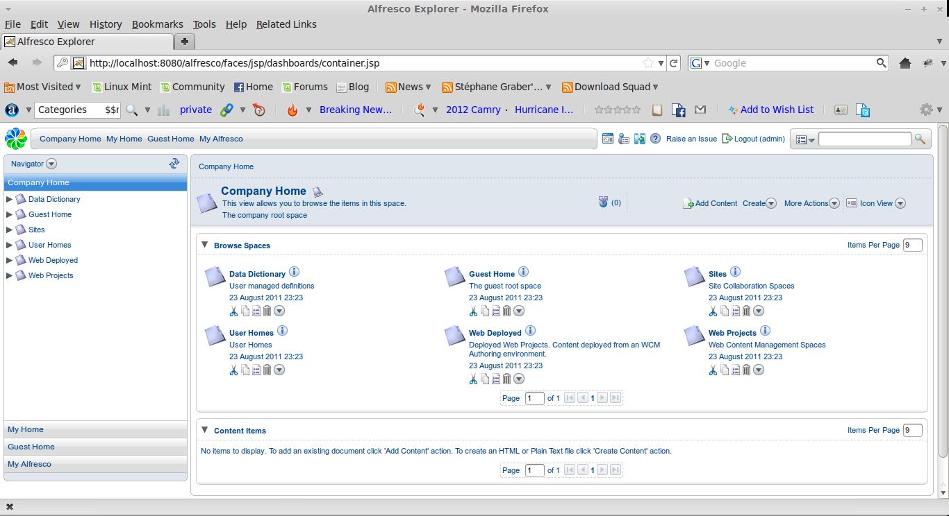Alfresco Explorer - Mozilla Firefox 092